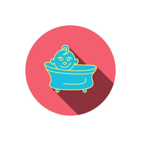 washing symbol: Baby in bath icon. Toddler bathing sign. Newborn washing symbol. Red flat circle button. Linear icon with shadow. Vector