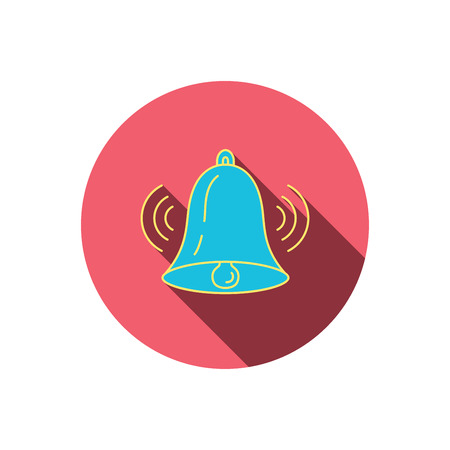 handbell: Ringing bell icon. Sound sign. Alarm handbell symbol. Red flat circle button. Linear icon with shadow. Vector