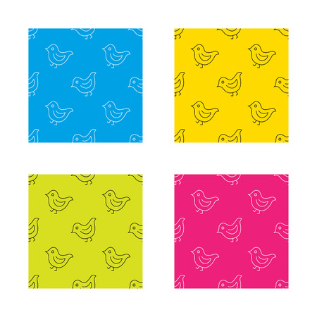 fowl: Bird icon. Chick with beak sign. Fowl with wings symbol. Textures with icon. Seamless patterns set. Vector