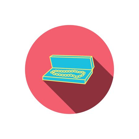 jewelry box: Jewelry box icon. Luxury precious sign. Red flat circle button. Linear icon with shadow. Vector