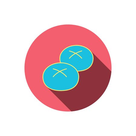 Bread rolls or buns icon. Natural food sign. Bakery symbol. Red flat circle button. Linear icon with shadow. Vector