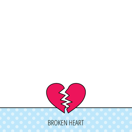 love icon: Broken heart icon. Divorce sign. End of love symbol. Circles seamless pattern. Background with red icon. Vector