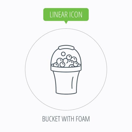 soapy: Bucket with foam icon. Soapy cleaning sign. Linear outline circle button. Vector