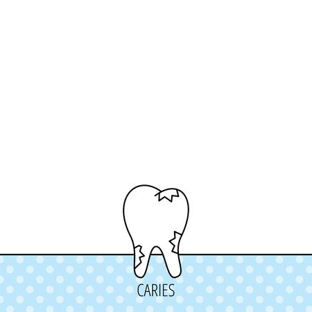 Caries icon. Tooth health sign. Circles seamless pattern. Background with icon. Vector