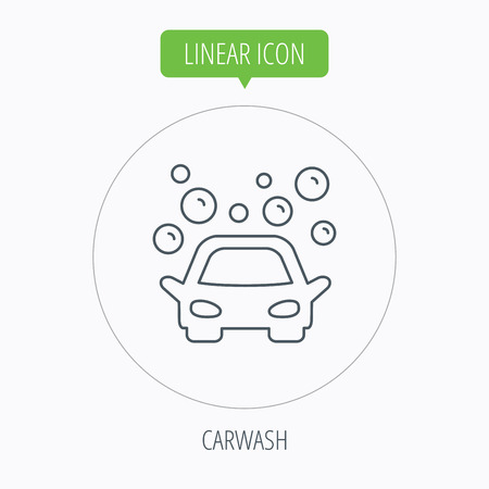 foam bubbles: Car wash icon. Cleaning station sign. Foam bubbles symbol. Linear outline circle button. Vector
