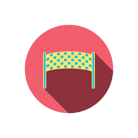 checkpoint: Finishing checkpoint icon. Marathon banner sign. Red flat circle button. Linear icon with shadow. Vector Illustration