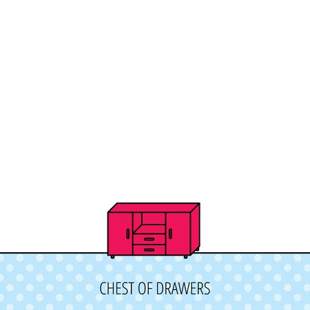 chest of drawers: Chest of drawers icon. Interior commode sign. Circles seamless pattern. Background with red icon. Vector