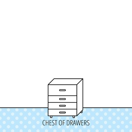 chest of drawers: Chest of drawers icon. Interior commode sign. Circles seamless pattern. Background with icon. Vector