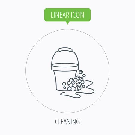 soapy: Icono de la limpieza con jab�n. Cubo con espuma y burbujas de signo. Bot�n Lineal contorno c�rculo. Vector Vectores