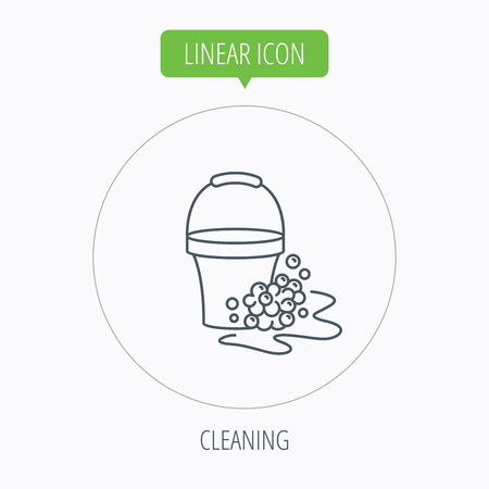 soapy: Soapy cleaning icon. Bucket with foam and bubbles sign. Linear outline circle button. Vector Illustration