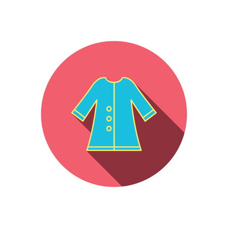 outerwear: Cloak icon. Protection jacket outerwear sign. Gardening clothes symbol. Red flat circle button. Linear icon with shadow. Vector