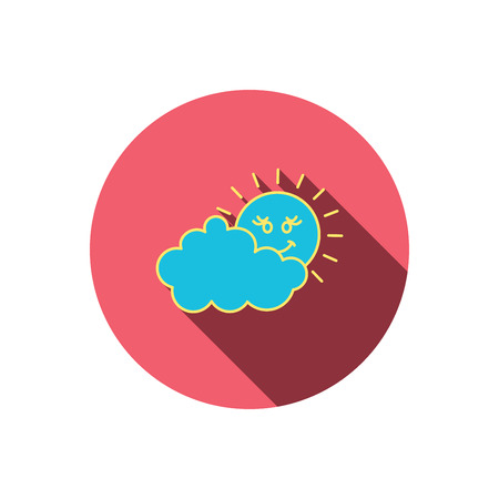overcast: Cloudy day with sun icon. Overcast weather sign. Meteorology symbol. Red flat circle button. Linear icon with shadow. Vector Illustration