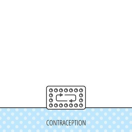 pharmacology: Contraception pills icon. Pharmacology drugs sign. Circles seamless pattern. Background with icon. Vector Illustration