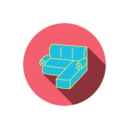 red couch: Corner sofa icon. Comfortable couch sign. Furniture symbol. Red flat circle button. Linear icon with shadow. Vector