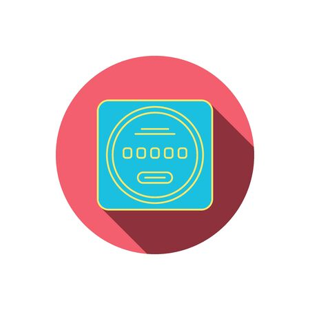 kilowatt: Electricity power counter icon. Measurement sign. Red flat circle button. Linear icon with shadow. Vector