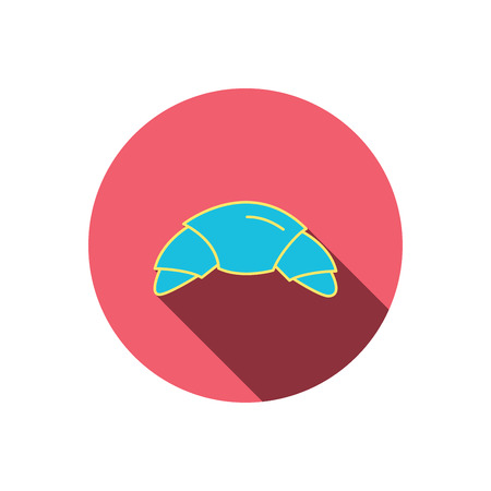 buttery: Croissant icon. Bread bun sign. Traditional french bakery symbol. Red flat circle button. Linear icon with shadow. Vector