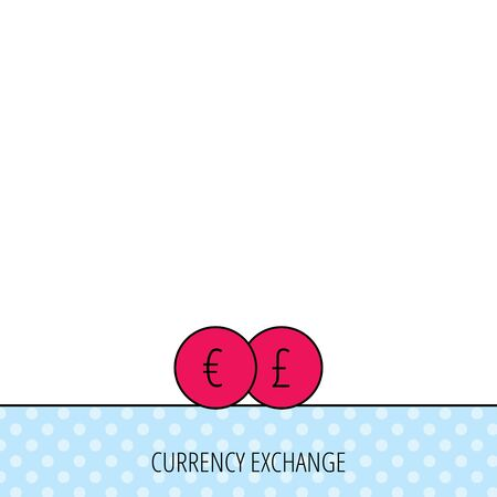 pound symbol: Currency exchange icon. Banking transfer sign. Euro to Pound symbol. Circles seamless pattern. Background with red icon. Vector