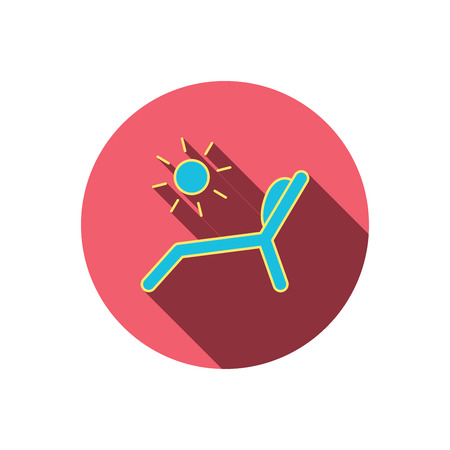 chaise longue: Deck chair icon. Beach chaise longue sign. Red flat circle button. Linear icon with shadow. Vector