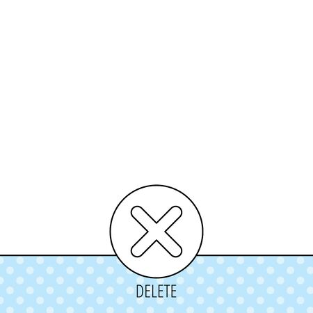delete icon: Delete icon. Decline or Remove sign. Cancel symbol. Circles seamless pattern. Background with icon. Vector Illustration