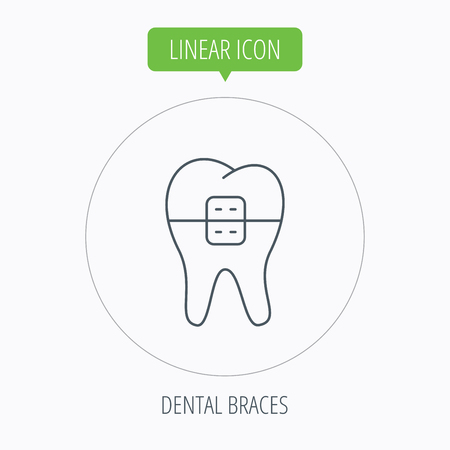 dental braces: Dental braces icon. Tooth healthcare sign. Orthodontic symbol. Linear outline circle button. Vector