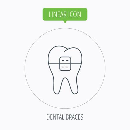dental braces: Dental icono de llaves. Signo de la salud dental. S�mbolo de ortodoncia. Bot�n Lineal contorno c�rculo. Vector