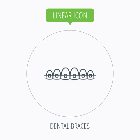 dental braces: Dental braces icon. Teeth healthcare sign. Orthodontic symbol. Linear outline circle button. Vector Vectores