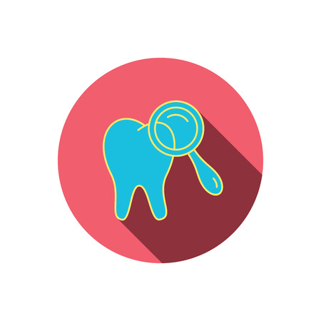 diagnostic: Dental diagnostic icon. Tooth hygiene sign. Red flat circle button. Linear icon with shadow. Vector