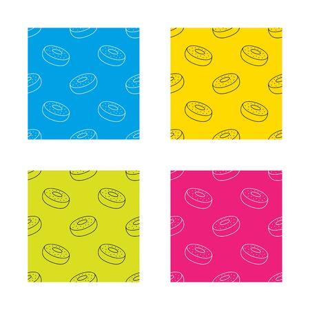 doughnut: Doughnut icon seamless patterns