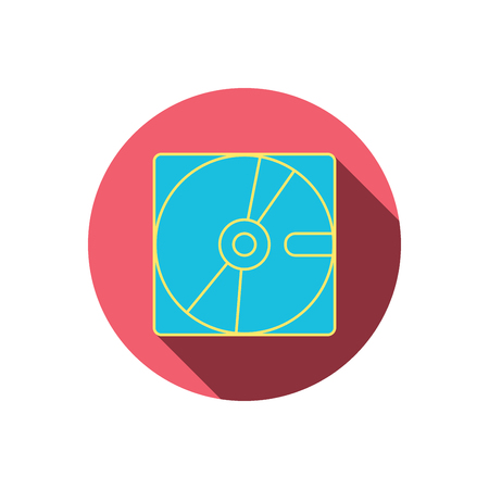 Harddisk icon. Hard drive storage sign. Red flat circle button. Linear icon with shadow. Vector