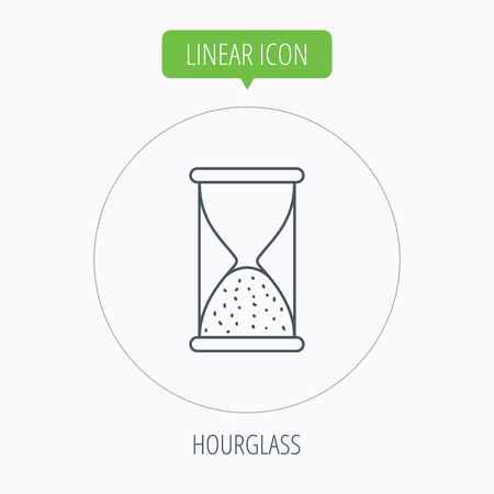 end of time: Hourglass icon. Sand end time sign. Hour ends symbol. Linear outline circle button. Vector