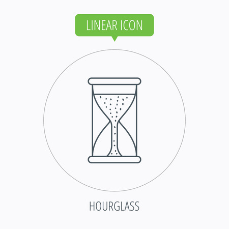 começando: Hourglass icon. Sand time starting sign. Linear outline circle button. Vector