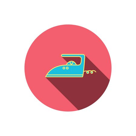 flat iron: Iron icon. Ironing housework sign. Laundry service symbol. Red flat circle button. Linear icon with shadow. Vector
