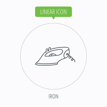 housework: Iron icon. Ironing housework sign. Laundry service symbol. Linear outline circle button. Vector