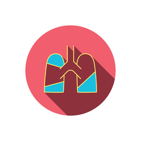 pulmology: Lungs icon. Transplantation organ sign. Pulmology symbol. Red flat circle button. Linear icon with shadow. Vector