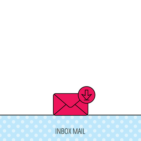 inbox icon: Mail inbox icon. Email message sign. Download arrow symbol. Circles seamless pattern. Background with red icon. Vector