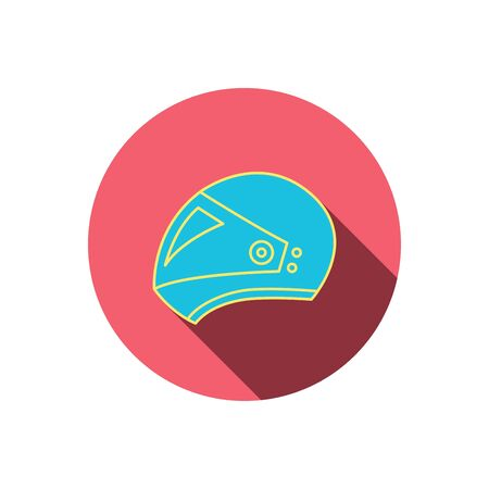 harley: Motorcycle helmet icon. Biking sport sign. Red flat circle button. Linear icon with shadow. Vector