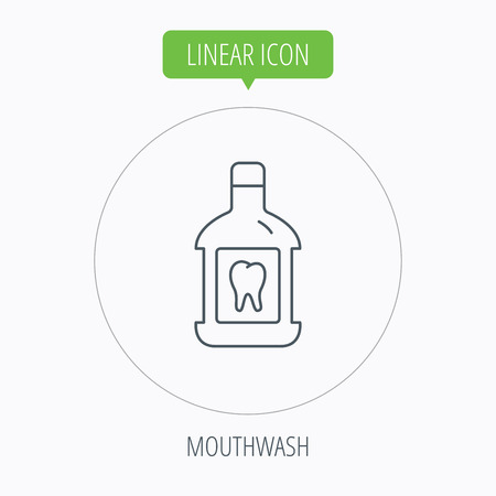 antibacterial: Mouthwash icon. Oral antibacterial liquid sign. Linear outline circle button. Vector