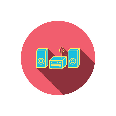 cd recorder: Music center icon. Stereo system sign. Red flat circle button. Linear icon with shadow. Vector
