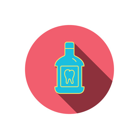 antibacterial: Mouthwash icon. Oral antibacterial liquid sign. Red flat circle button. Linear icon with shadow. Vector Illustration
