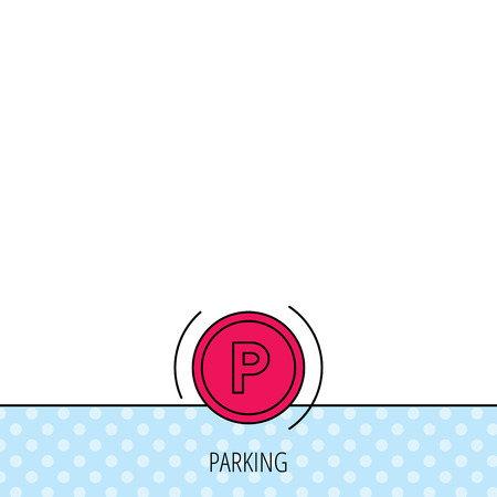 dashboard: Parking icon. Dashboard sign. Driving zone symbol. Circles seamless pattern. Background with red icon. Vector