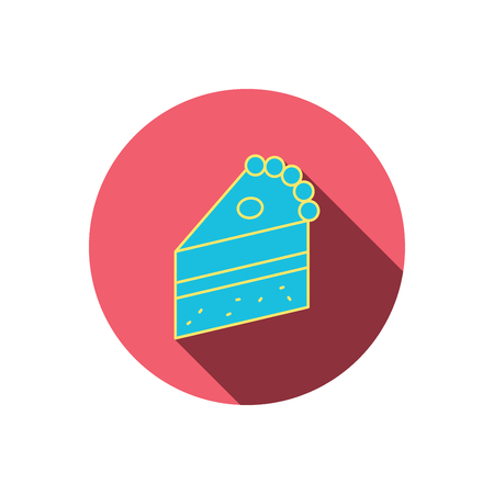 confection: Piece of cake icon. Sweet dessert sign. Pastry food symbol. Red flat circle button. Linear icon with shadow. Vector