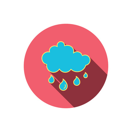 overcast: Rain icon. Water drops and cloud sign. Rainy overcast day symbol. Red flat circle button. Linear icon with shadow. Vector