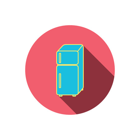 Refrigerator icon. Fridge sign. Red flat circle button. Linear icon with shadow. Vector