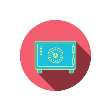 combination lock: Safe icon. Money deposit sign. Combination lock symbol. Red flat circle button. Linear icon with shadow. Vector Illustration