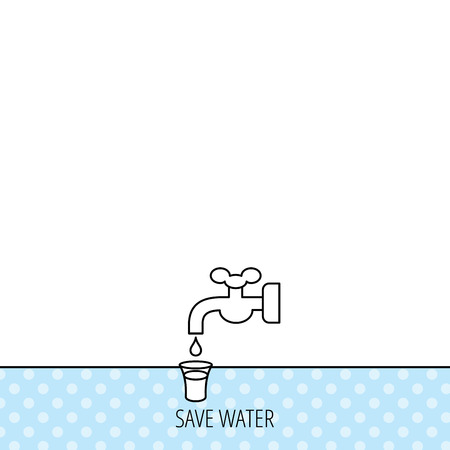 waterworks: Save water icon. Crane or Faucet with drop sign. Circles seamless pattern. Background with icon. Vector