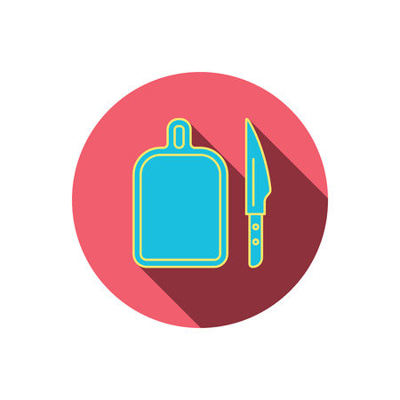 separating: Separating board icon. Kitchen knife sign. Red flat circle button. Linear icon with shadow. Vector