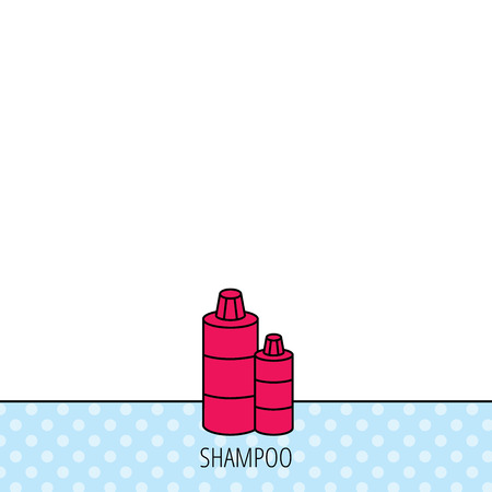 shampoo bottles: Shampoo bottles icon. Liquid soap sign. Circles seamless pattern. Background with red icon. Vector