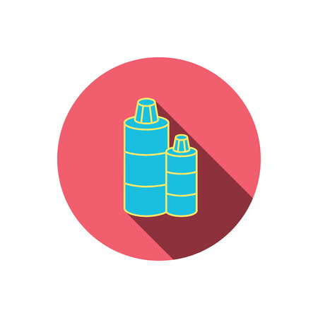 shampoo bottles: Shampoo bottles icon. Liquid soap sign. Red flat circle button. Linear icon with shadow. Vector Illustration
