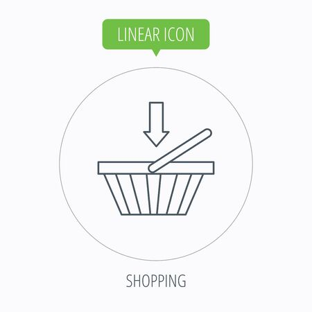 dealings: Shopping cart icon. Online buying sign. Linear outline circle button. Vector Illustration
