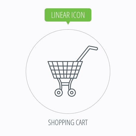 dealings: Shopping cart icon. Market buying sign. Linear outline circle button. Vector